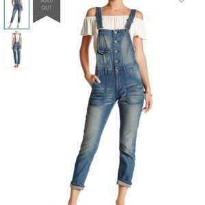 Love Stitch Washed Denim Overalls Large